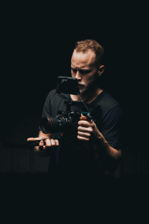 Man video taping his presentation practice