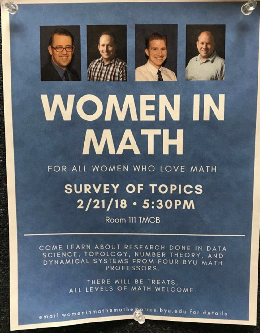 """Advertisement for an all-male panel/manel of mathematicians, with the stated topic """"women in math"""""""